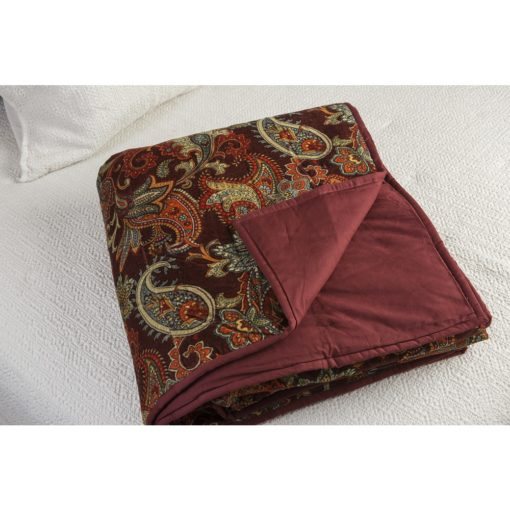 Burgundy Paisley Velvet Throw xxx_0