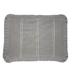 Green Striped Linen Placemat with Ruffle