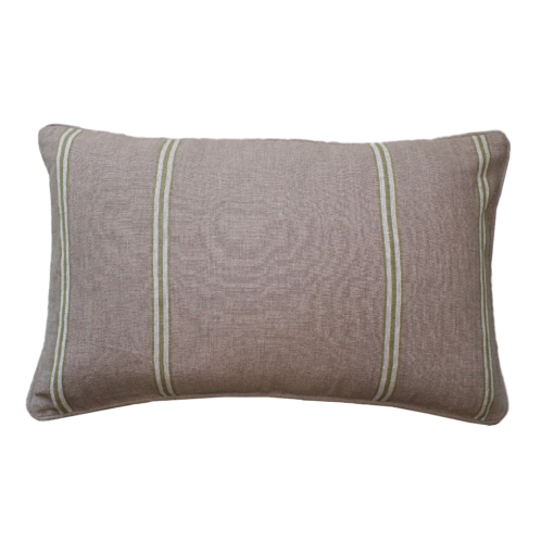 CDH Linen Green Striped Lumbar Pillow