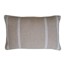 Ivory Striped Linen Lumbar Pillow
