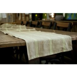 Linen Green Stripe Runner