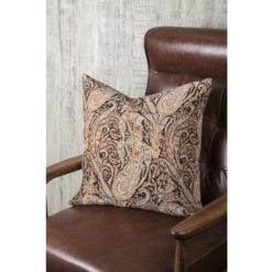Natural Paisley Velvet Pillow