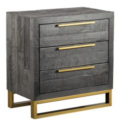 Avante Black 3 Drawer Nightstand