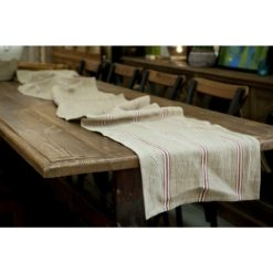 Linen Runner Red Stripe