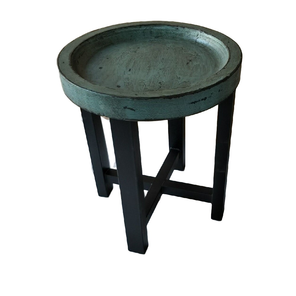 CDH Painted Round End Table Turquoise Cokas Diko Home - Painted round end table