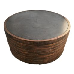 CDH Round Painted Natural Barrel Coffee Table