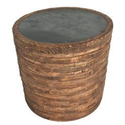 CDH Round Painted Natural Barrel Side Table