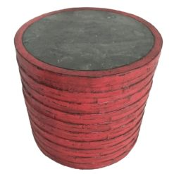 CDH Round Painted Red Barrel Side Table $650
