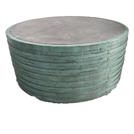 CDH Round Painted Turquoise Barrel Coffee Table