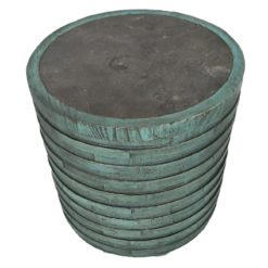 CDH Painted Barrel Side Table - Turquoise