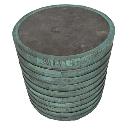 CDH Painted Barrel Side Table – Turquoise