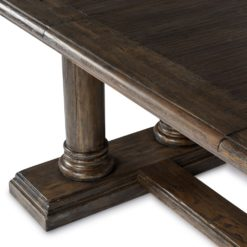 European Double Pillar Extension Dining Table in Dark Walnut