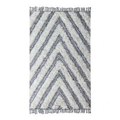 Kilim Shag Wellington Rug in Ivory & Black