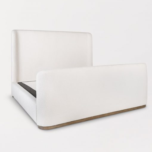 Curved White Linen Upholstered Bed xxx_0