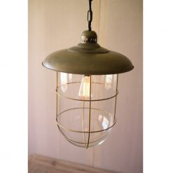Aris Caged Glass Dome Pendant Light