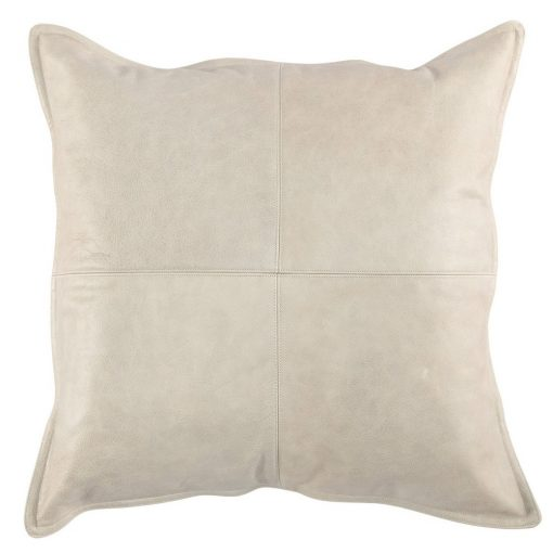 Set of 2 Leather Gray Accent Pillows xxx_0