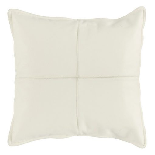 Set of 2 Leather Ivory Accent Pillows xxx_0