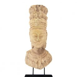 Hand-carved from beautiful wood, this Buddha figurine is sure to amaze onlookers as they walk by. At over 26 inches high, it will be a great centerpiece for other Asian-inspired decorative pieces. For decorating a fireplace mantel, place it in the center with small candles on either side.