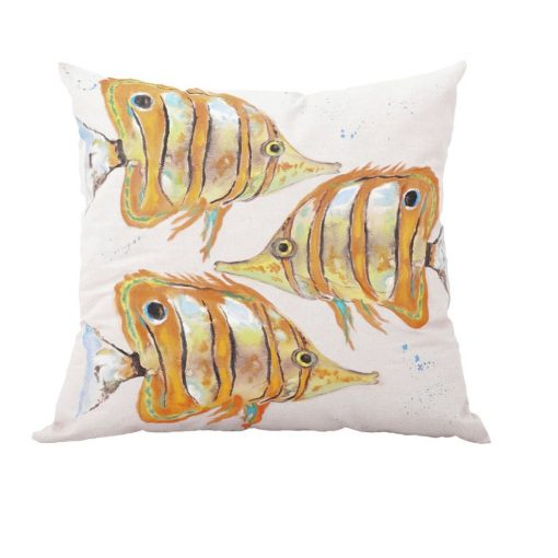 Hand Painted Fishes Pillow xxx_0