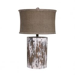 Distressed Cylinder Table Lamp